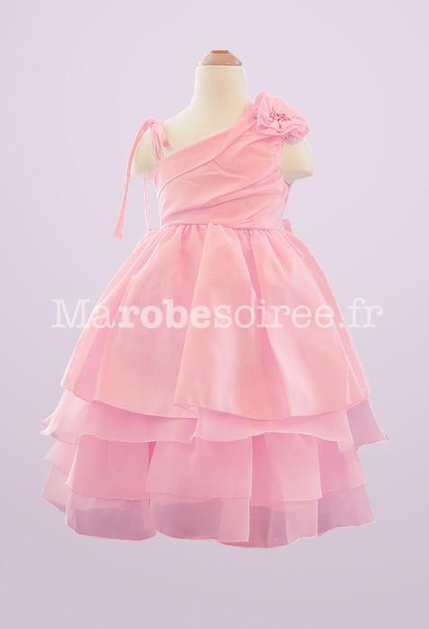 2a5cbdcf7de époustouflant Robe de cortège enfant rose bonbon bretelles asymétique  DS 81