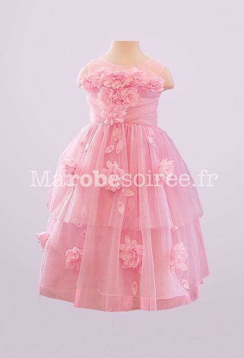 ef7b5880550 Complètement et à l extrême Robe de cortège enfant Coraline rose-bonbon  recouverte tulle