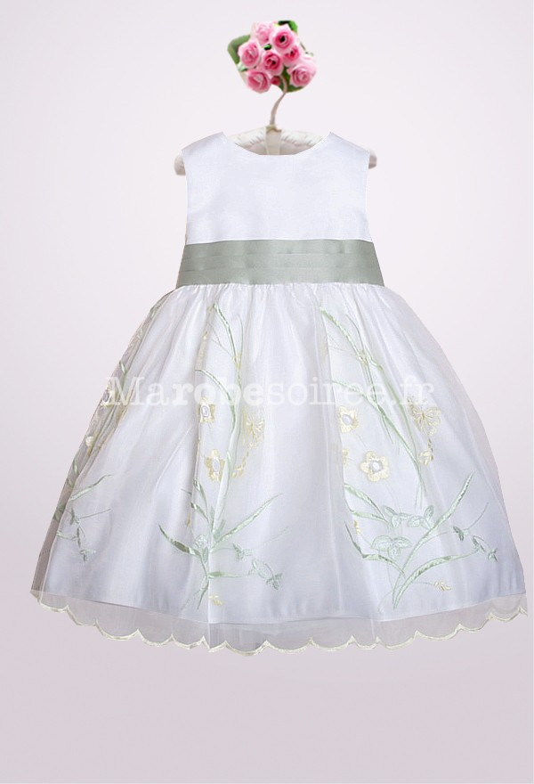 robe de cort ge enfant marguerite blanche vert clair tulle. Black Bedroom Furniture Sets. Home Design Ideas