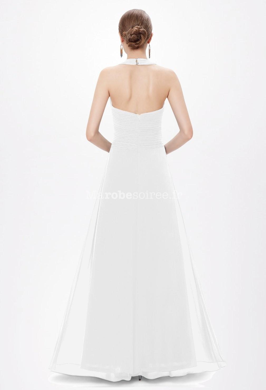 Robe de mariée simple et fluide dos nu réf EP8487 en Mousseline