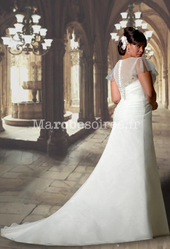 Robe de mariée avec manche courte en volant forme sirène avec ...