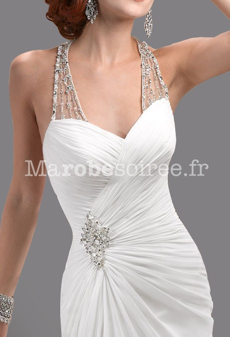 Blouissante robe de mari e glamour bretelles strass forme sir ne - Robe de mariee strass ...