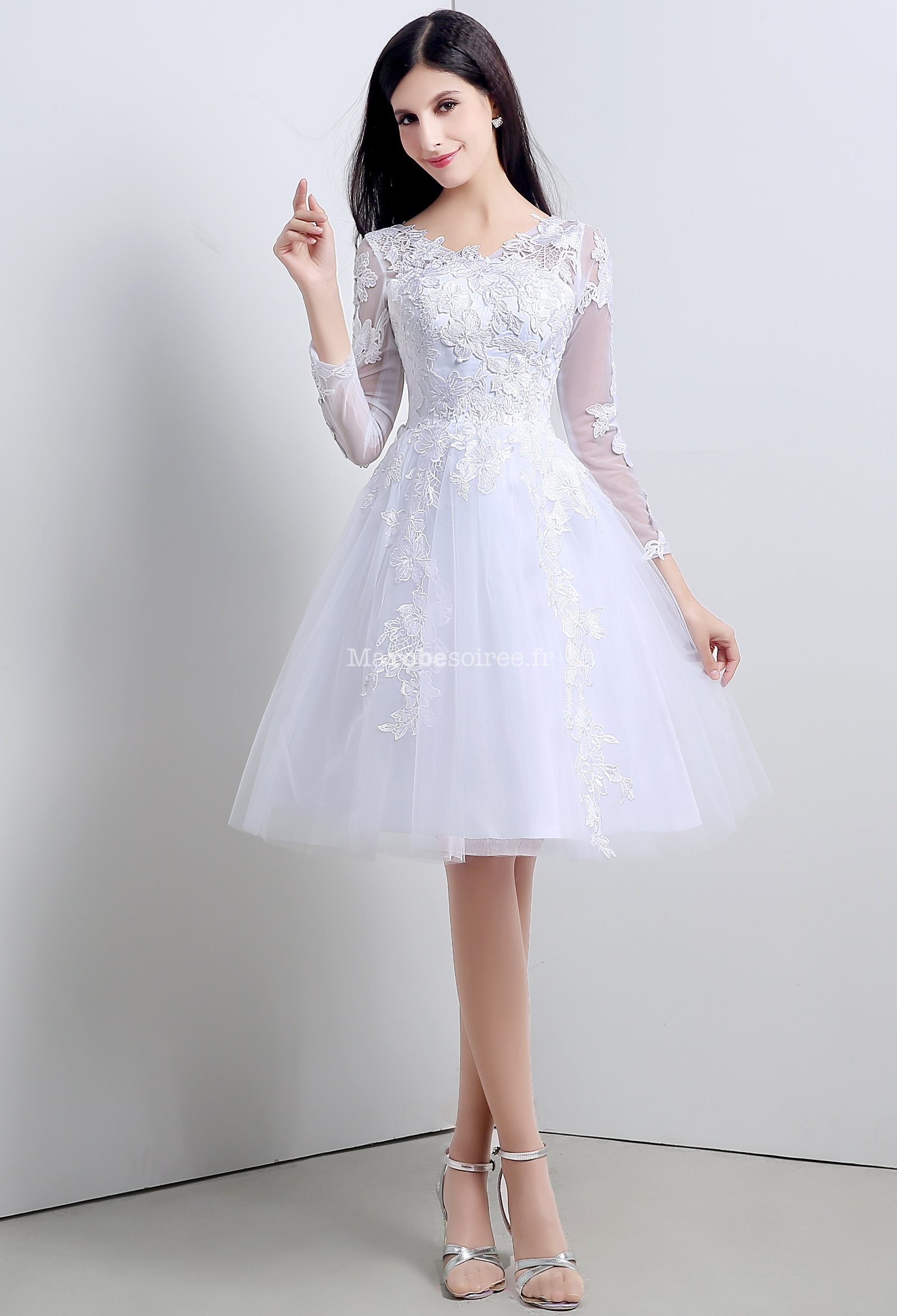 robe de mari 233 e courte dentelle vaporeuse