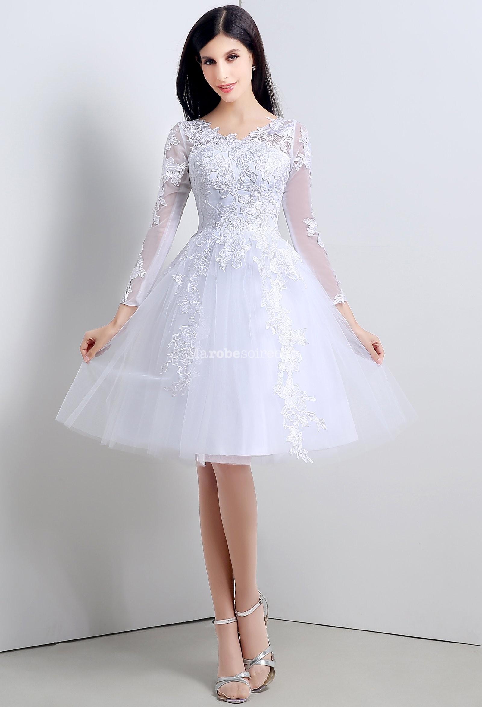 robe de mariee courte manche longue