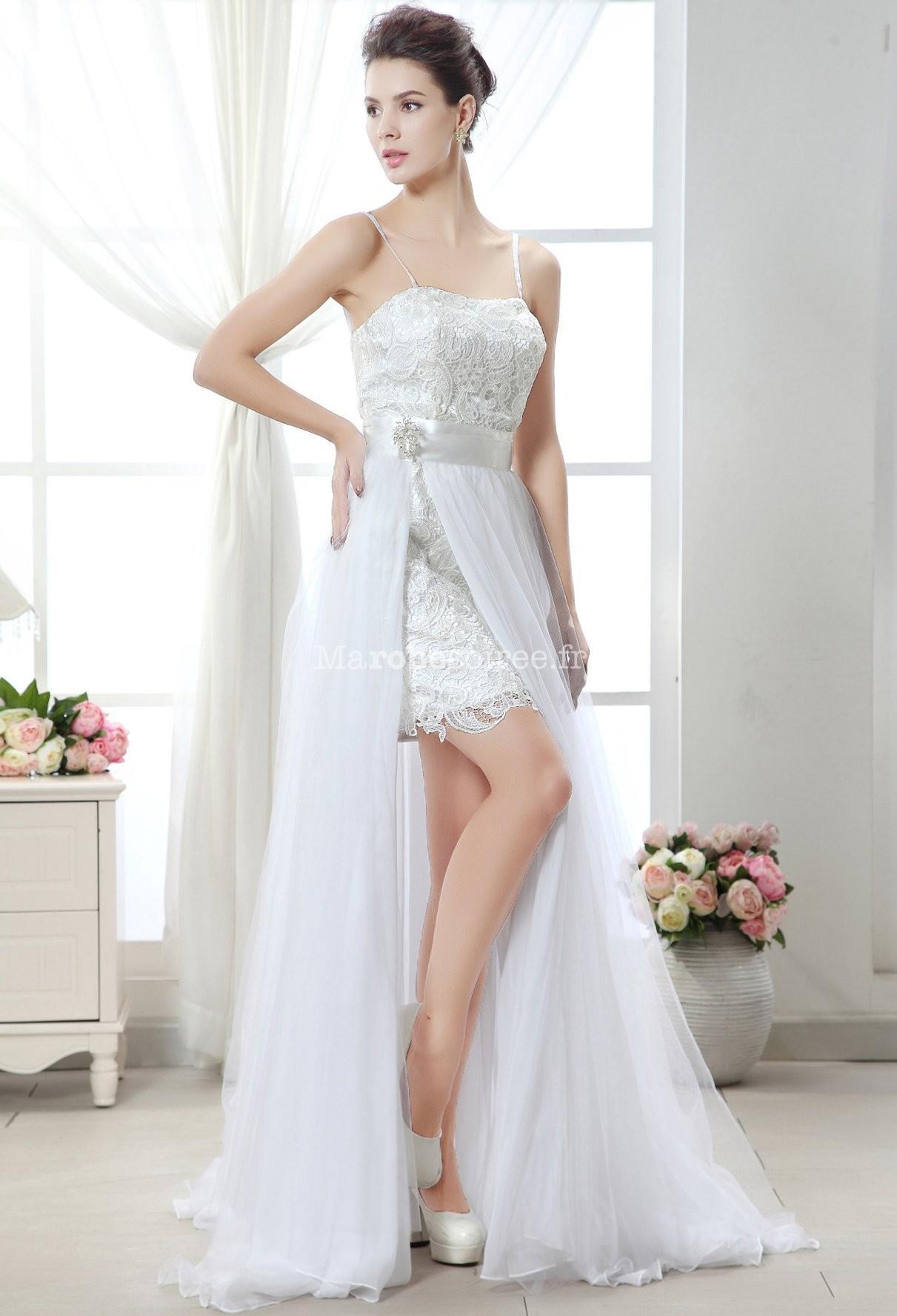 robe de mari e courte et moderne avec volant