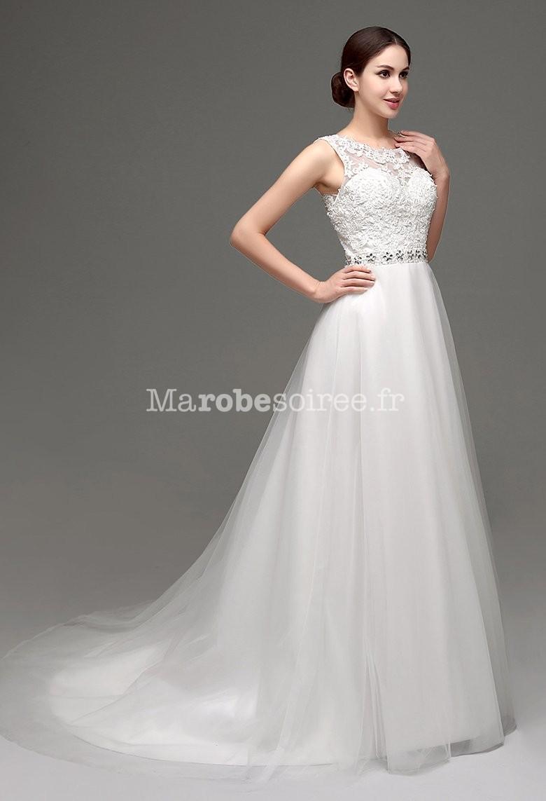 Accueil / Robe de mariée romantique avec dos transparent réf SQ237 ...