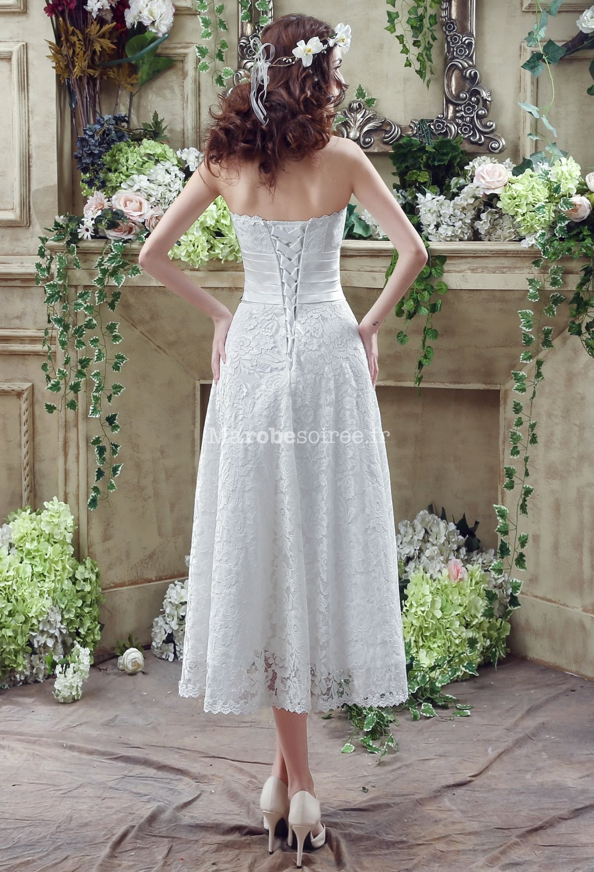 Robe de mariée bustier mi-longue réf SQ268 - sur demande en Dentelle ...