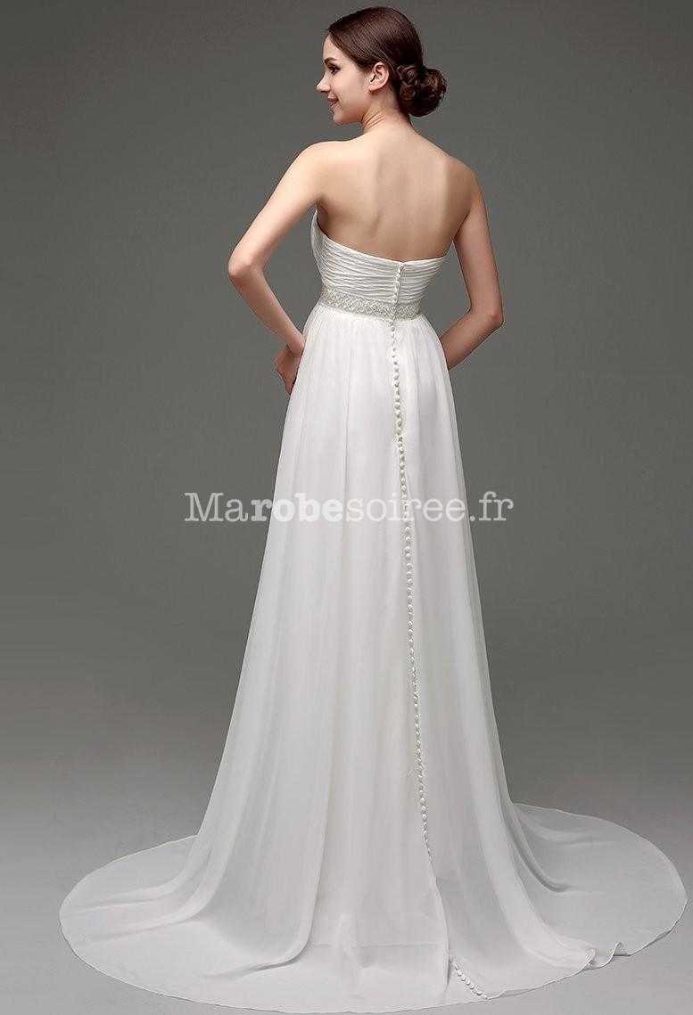 Robe de mariée fluide avec des perles réf SQ249 - sur demande en ...