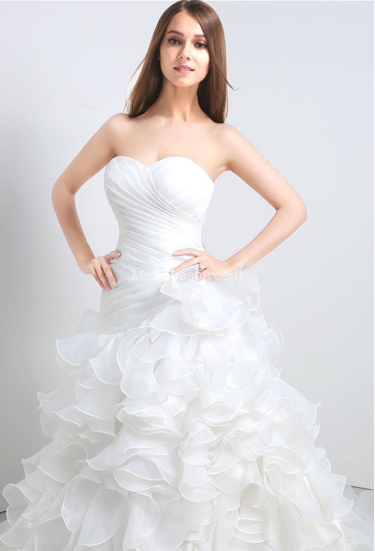 Robe de mariée froufrou princesse sans strass