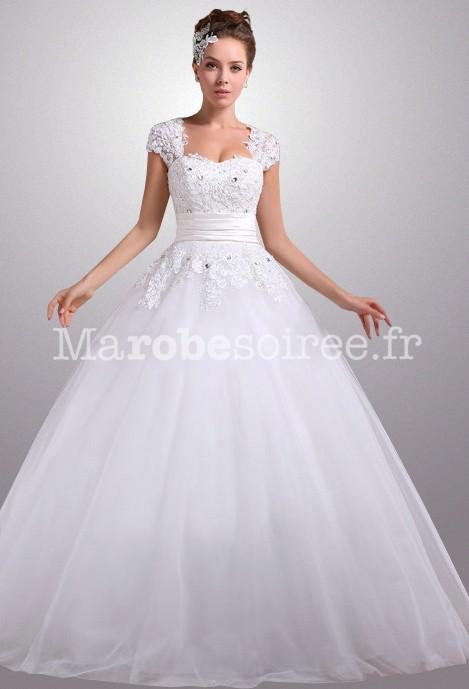 Accueil / Robe de mariée manche courte dentelle réf 2268 - sur ...