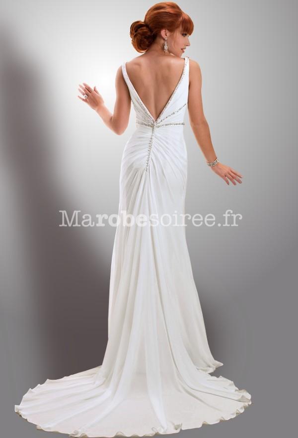 robe de mari e avec bretelle d collet en v simple fluide avec tra ne. Black Bedroom Furniture Sets. Home Design Ideas