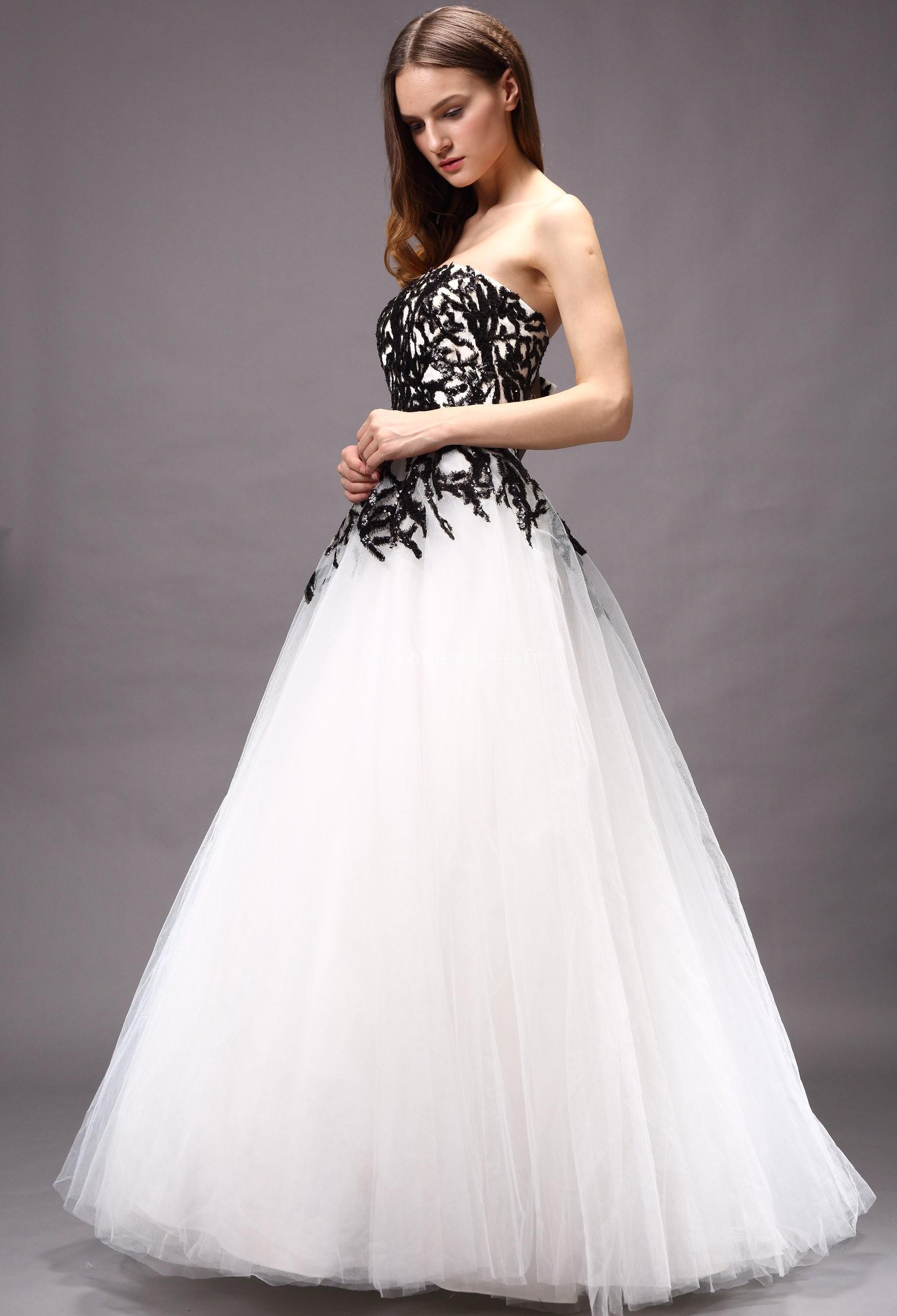 Accueil / Robe de mariée originale noir et blanche réf 15755- sur ...