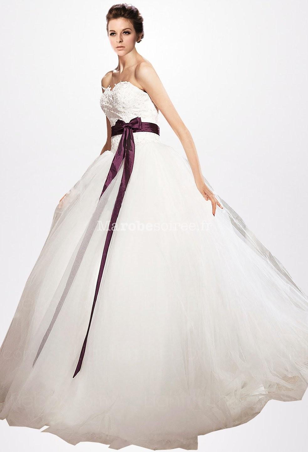 robe de mari e bustier coeur dentelle avec ceinture. Black Bedroom Furniture Sets. Home Design Ideas