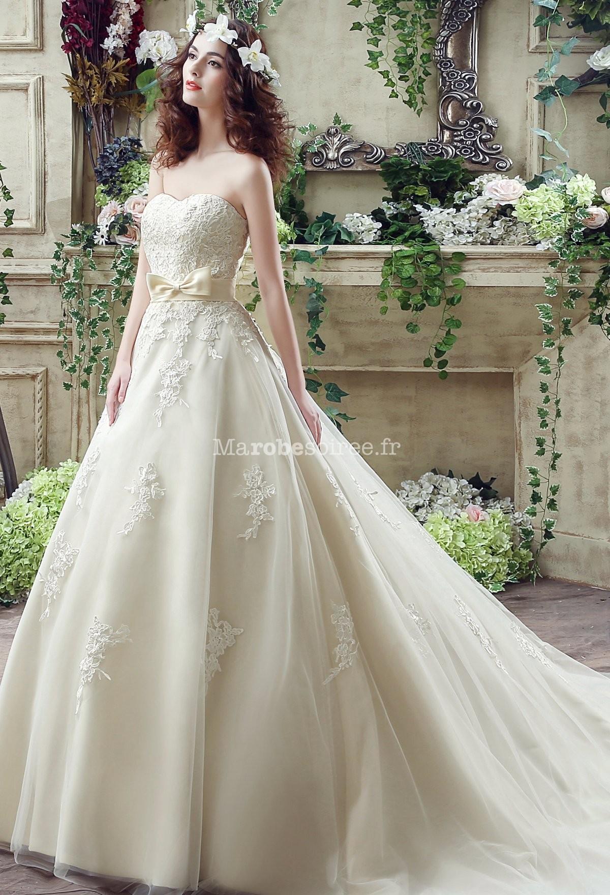 Robe de mari e princesse bustier dentelle for Robe de mariage