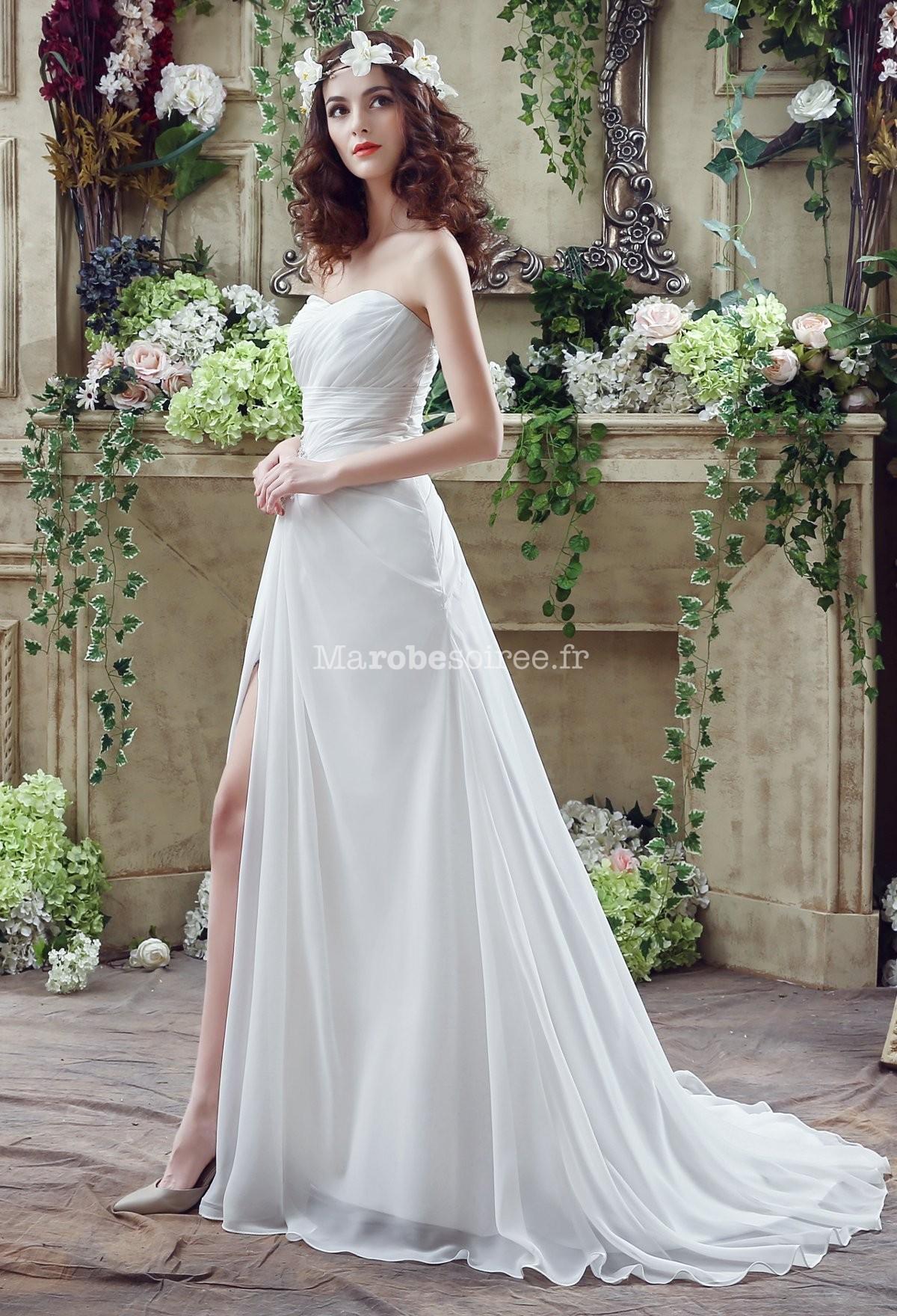 Robe de mari e mousseline ouverture fente for Robe de mariage