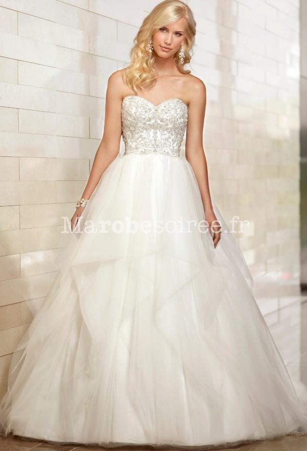 robe de mari e en organza bustier brod style 39 blanche neige. Black Bedroom Furniture Sets. Home Design Ideas