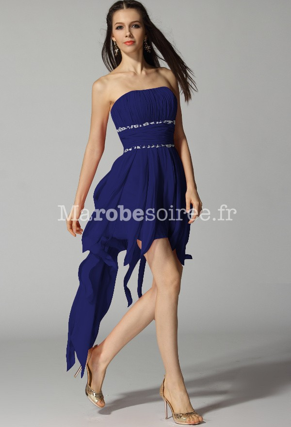 robe de cocktail volant tombant bleu saphir