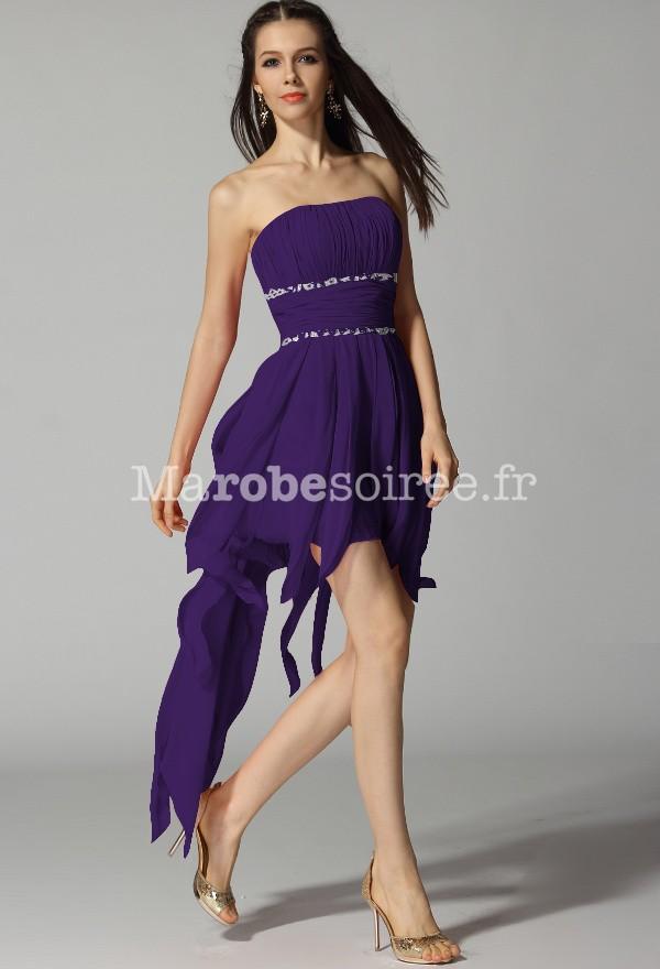 Robe cocktail bustier violette