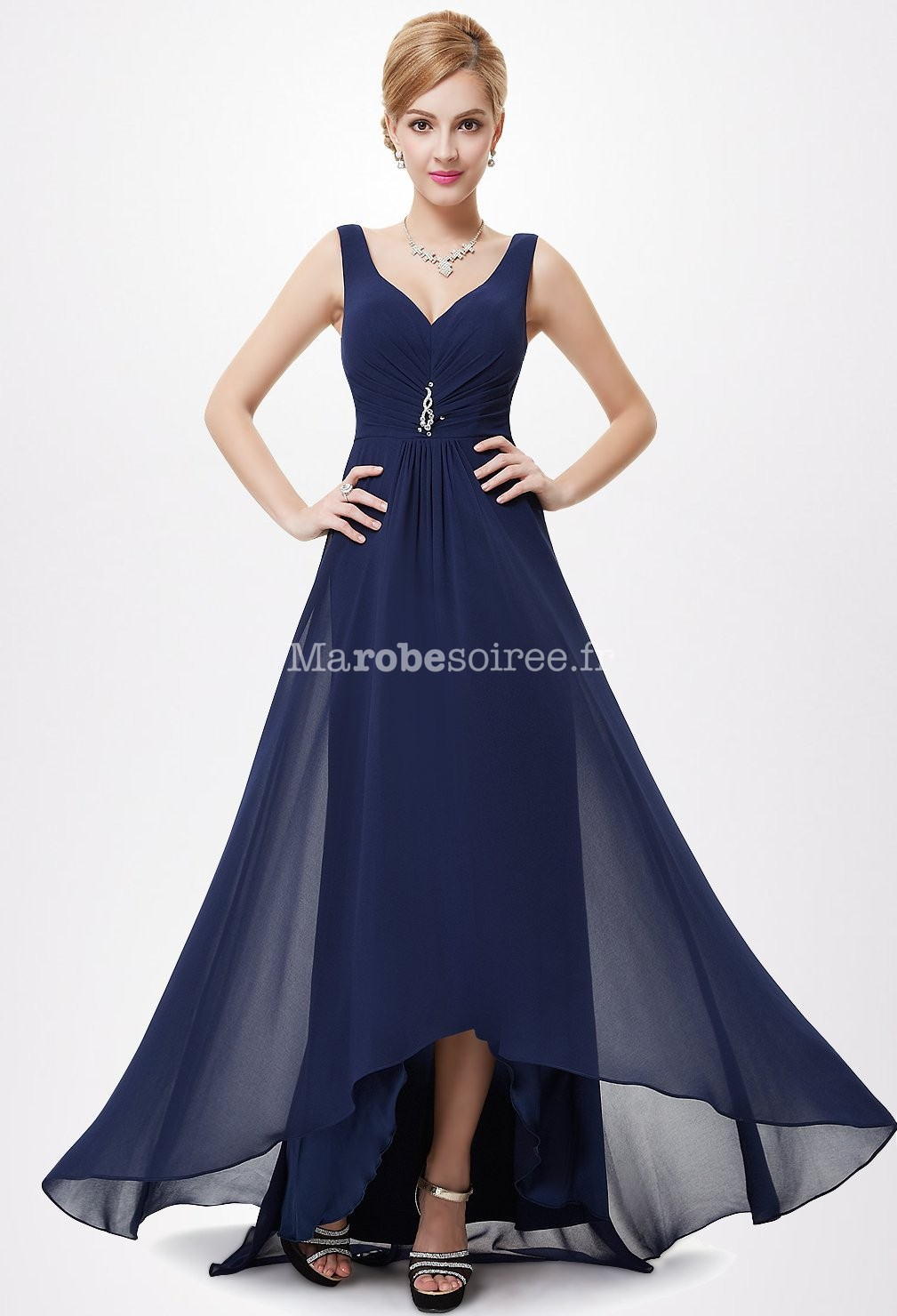 robe de ceremonie au decollete v avec coupe asymetrique With wonderful quelle couleur avec bleu marine 3 quelle couleur de chapeau avec ma robe