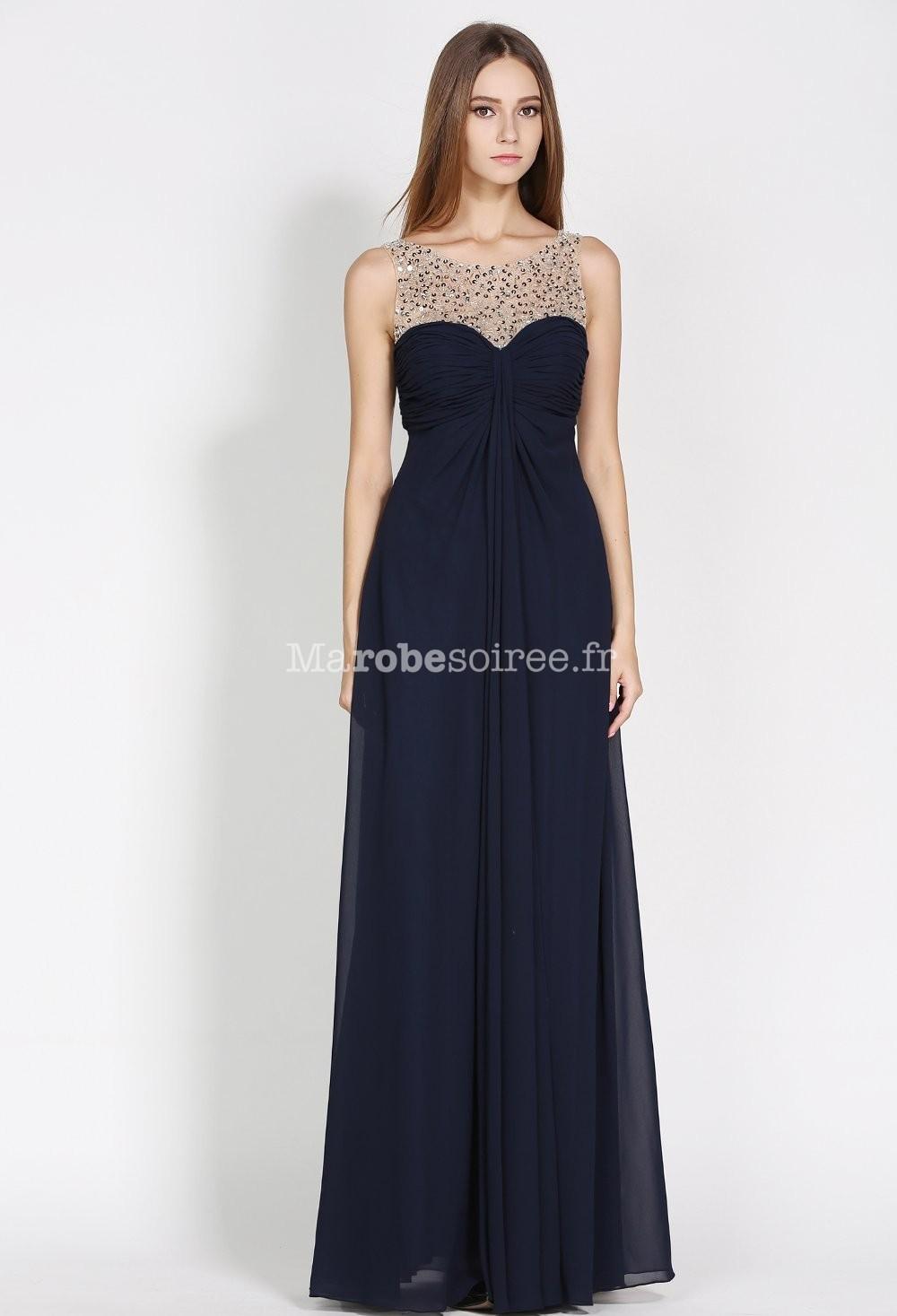 robe de c r monie bleu marine d collet transparent orn de strass. Black Bedroom Furniture Sets. Home Design Ideas