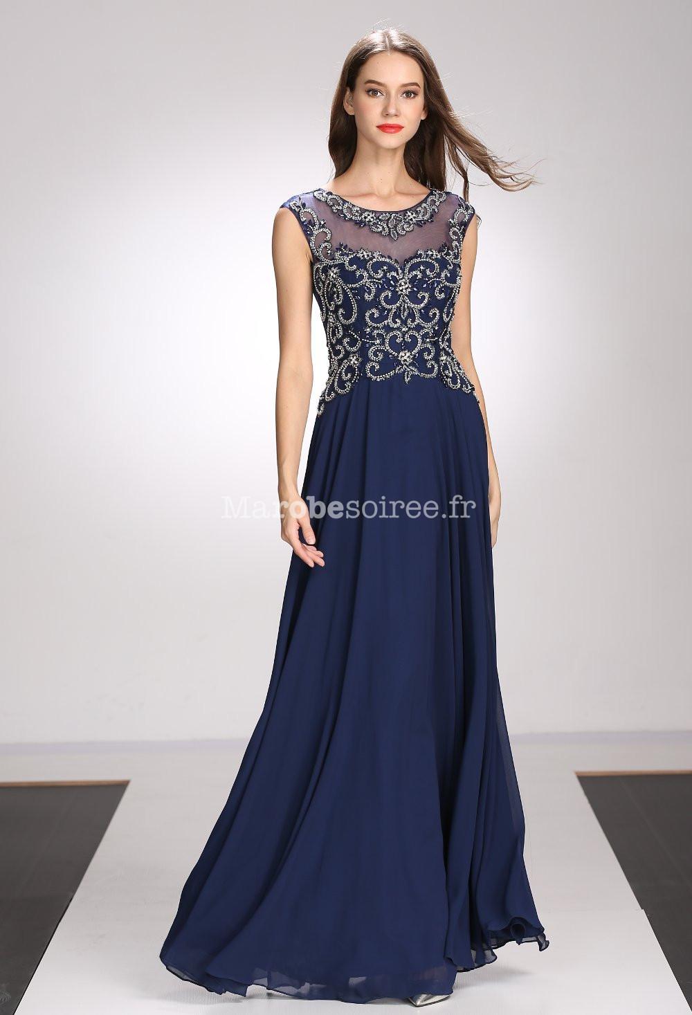 robe de soirée bleu nuit transparence