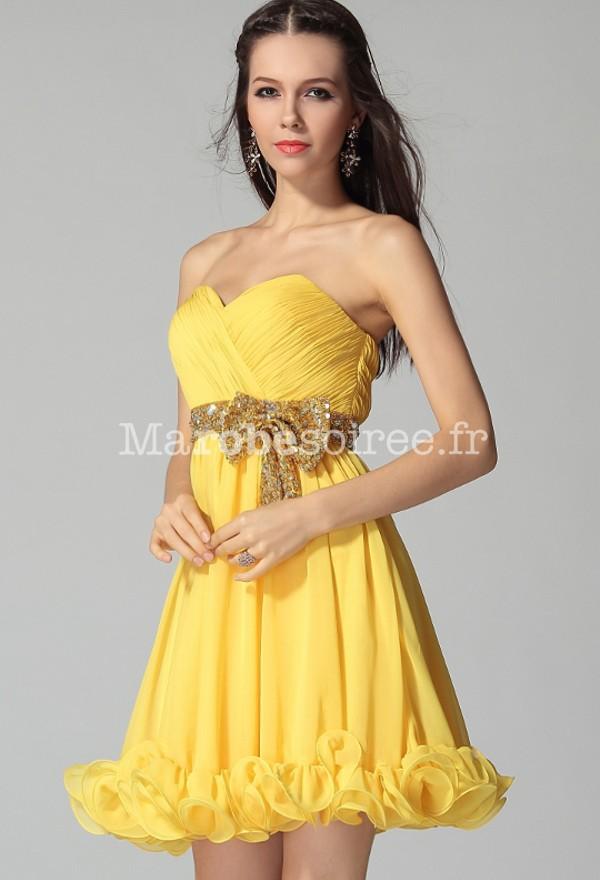 robe jaune motif cocktail