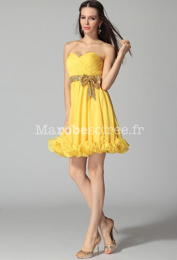robe de c r monie jaune jonquille bustier crois c ur f rique en or. Black Bedroom Furniture Sets. Home Design Ideas