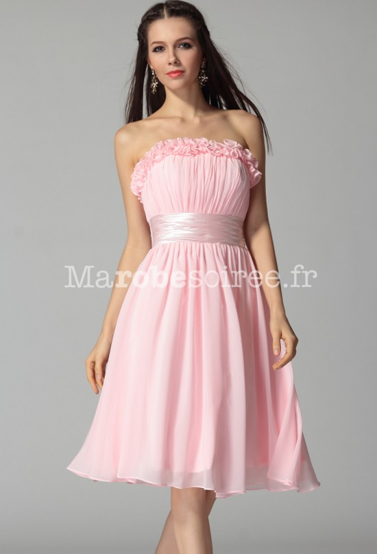 3f3166279a6 robe de cocktail paulina en mousseline et satin bustier mi-longue