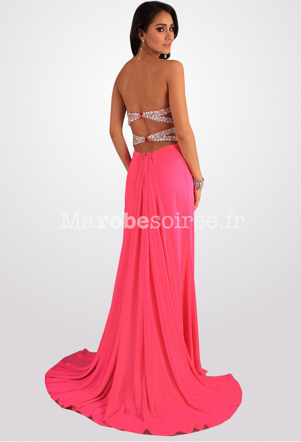 Robe longue de cocktail rose