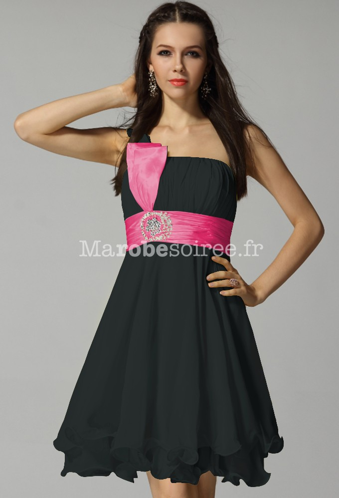 Robe de soiree noir et rose fushia