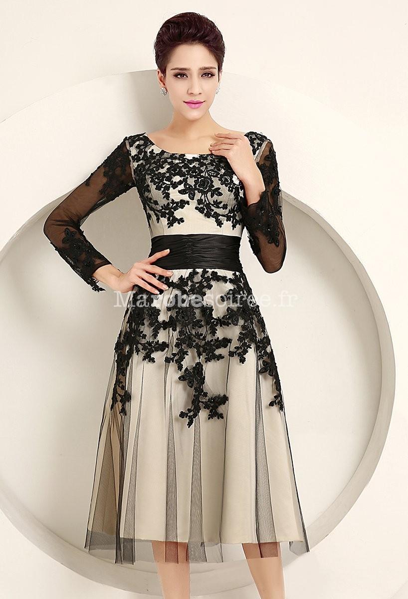 robe de m re de mari e manches longues dentelle noir. Black Bedroom Furniture Sets. Home Design Ideas