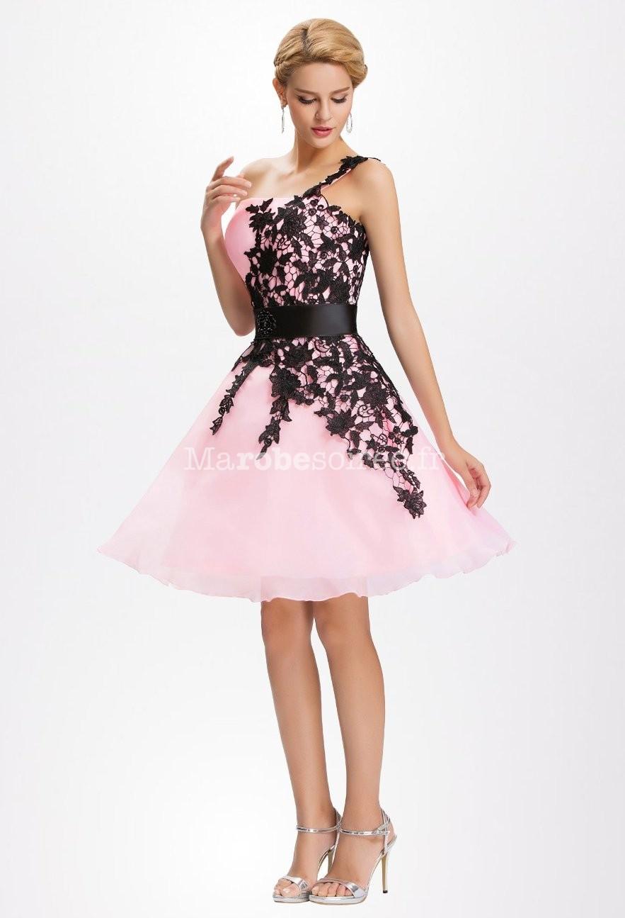 Robe soiree rose et noir