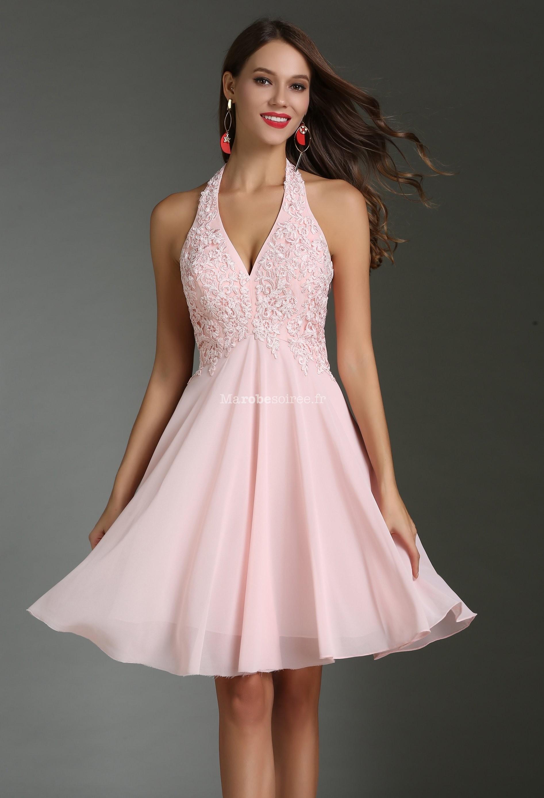 robe de soir e rose poudr dentelle guipure. Black Bedroom Furniture Sets. Home Design Ideas