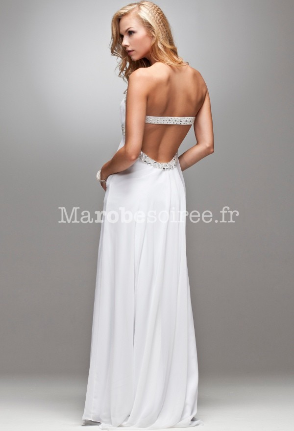 robe soir e mariage blanche bustier dos nu robes elina. Black Bedroom Furniture Sets. Home Design Ideas