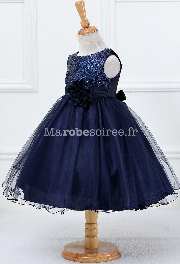 c996b8699b7 ... Robe de soirée fille bleu marine sequins tulle ...