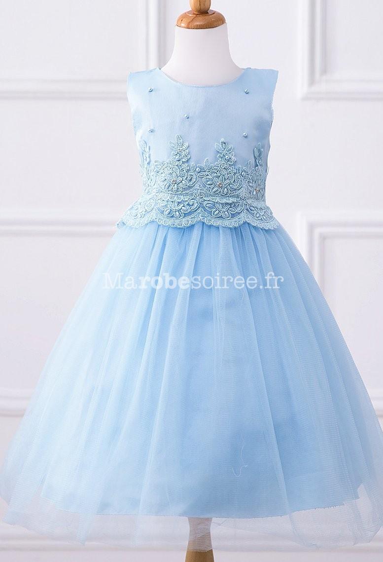 ff8d4470e7390 ... Robe de cortège enfant fille bleu pastel ...