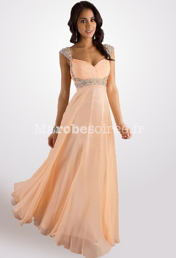 ce934648c750 robe de soirée couleur pêche mancherons strass empire en mousseline