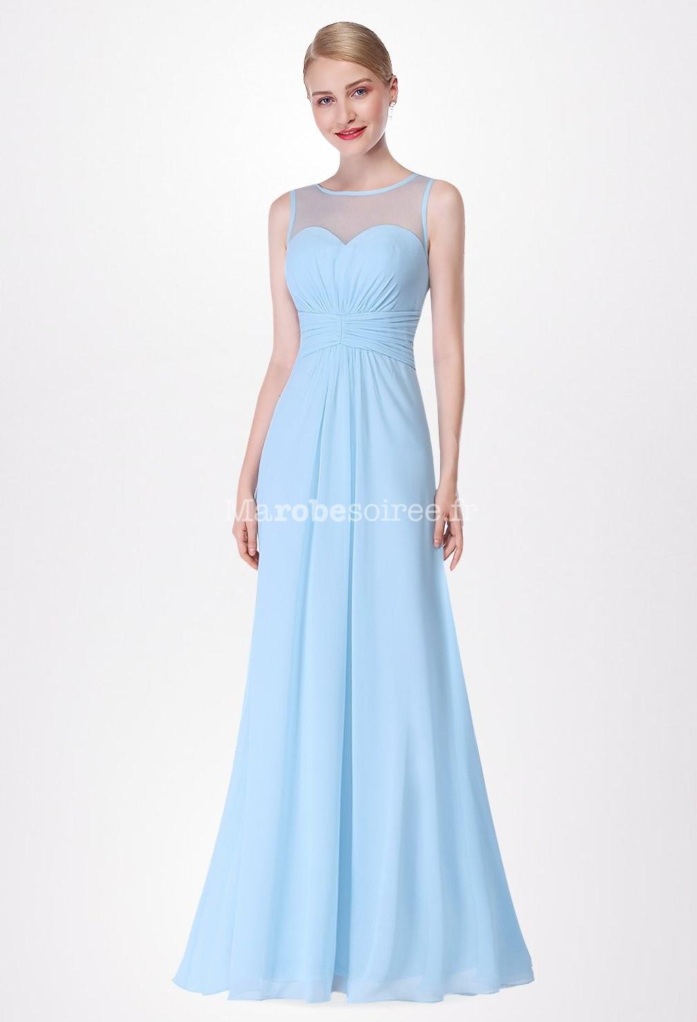 Robe de c r monie longue et vas e for Robes bleu ciel pour un mariage