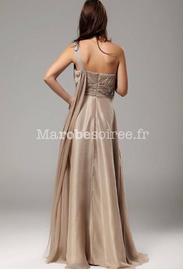 robe de bal annabelle bretelle asym trique couleur sable avec volants. Black Bedroom Furniture Sets. Home Design Ideas