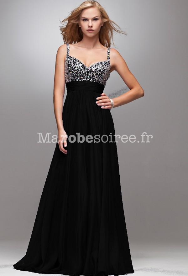 robe de cérémonie noir longue bustier en bijoux