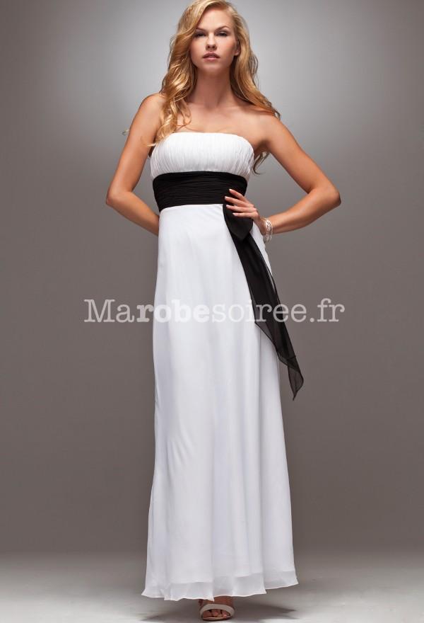 Robe de cocktail longue noir et blanc