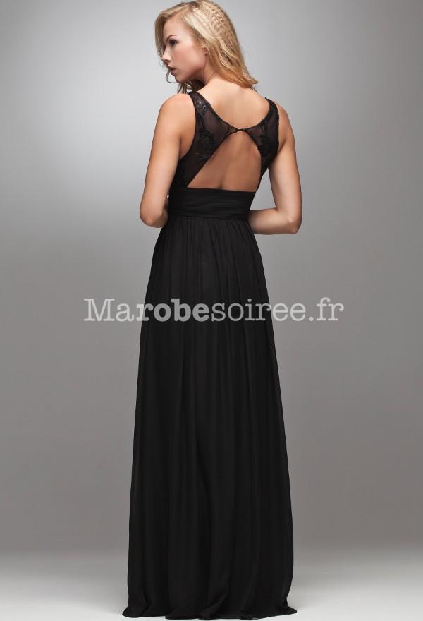 cae267701b94 robe de soirée carole longue évasée noir ceinture en forme de feuille