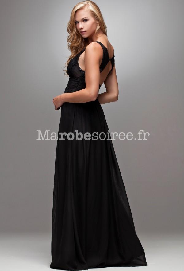 robe de soirée noire longue dos nu croisé