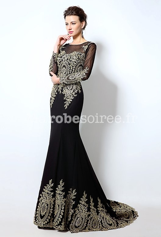 Robe De Soiree Manches Longues Broderie Or