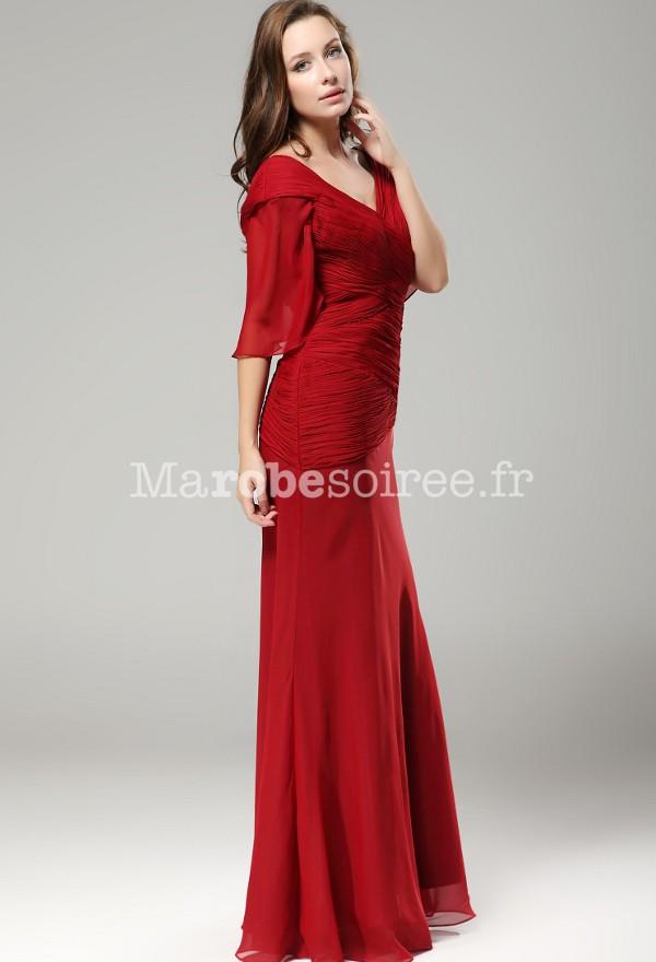 robe de soirée longue rouge manche courte drapée pour mère