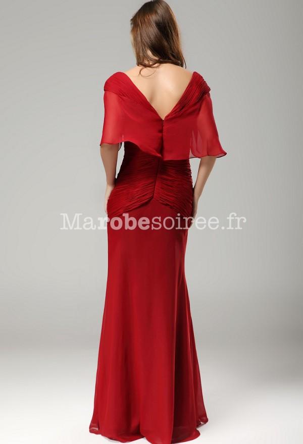 robe de soirée longue rouge manche courte drapée pour mère de ...