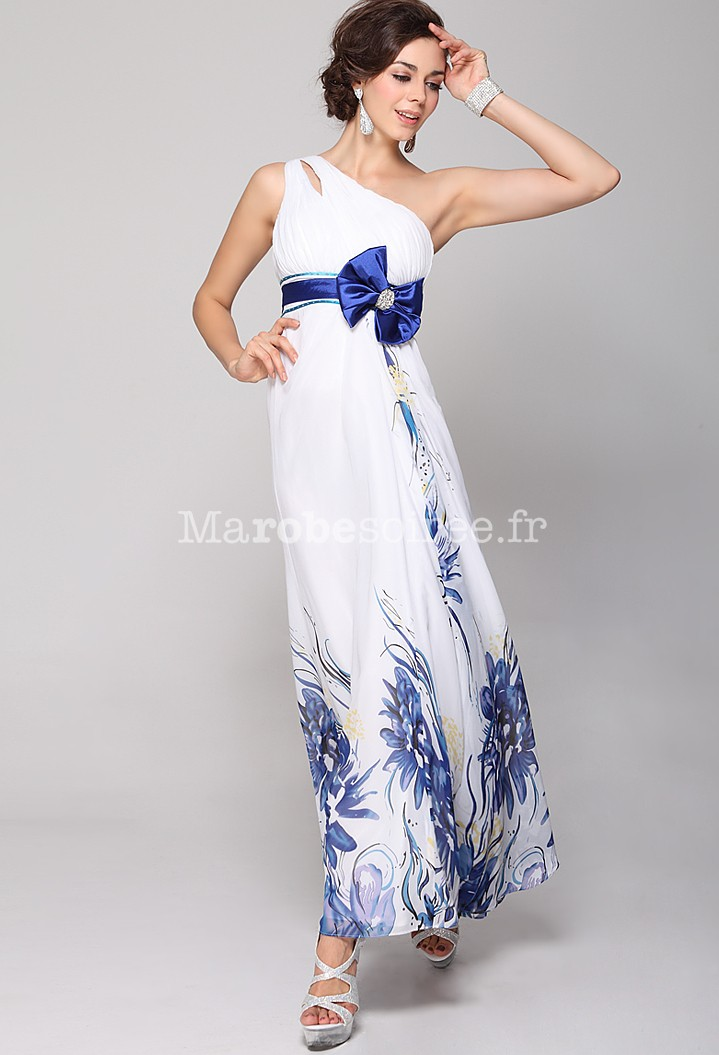 Robe de bal bretelle asym trique motif fleur printani re for Robe de fille de fleur pour le mariage de plage