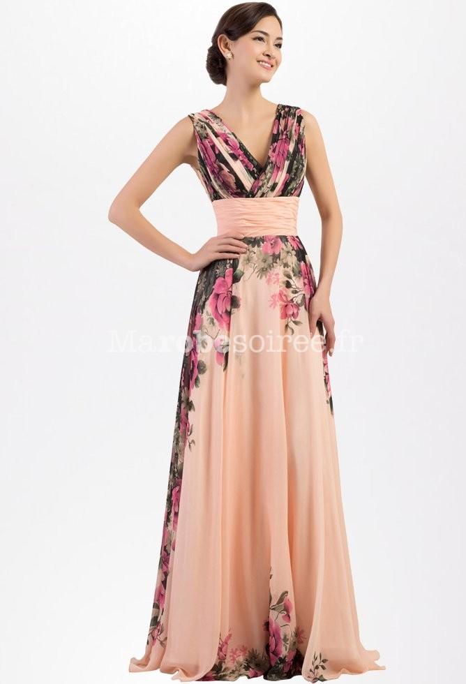 robe de soir e motif fleur rose. Black Bedroom Furniture Sets. Home Design Ideas