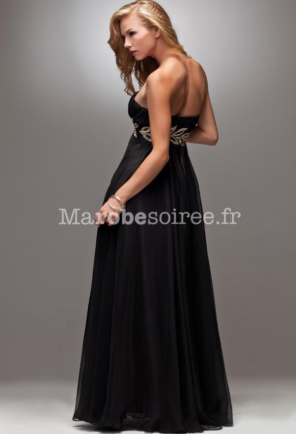 Robe de soir e hebe mousseline noire ceintur par des for Feuille de piano robe de mariage