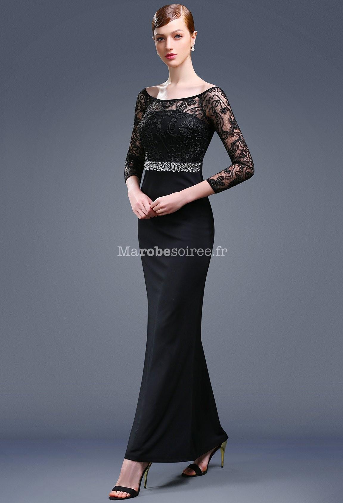 robe de soir e longue noire manches longues. Black Bedroom Furniture Sets. Home Design Ideas